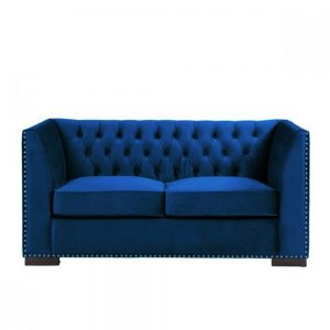 chester 2 seater sofa royal blue modern