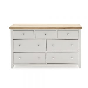 painted grey wooden 7 drawer wide chest dresser