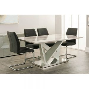 dining table 4 chairs marble grey cream white