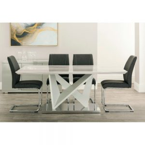 dining table cream white grey marble