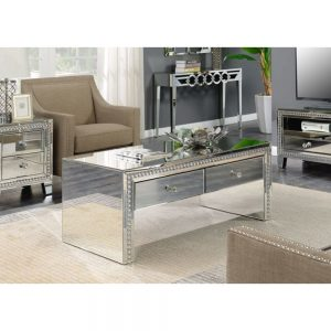 silver metalllic mirrored coffee table