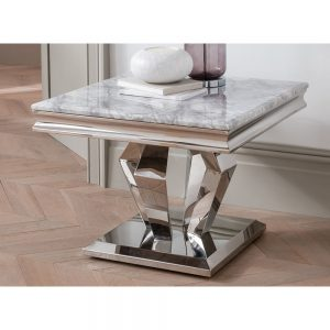 lamp table grey silver marble