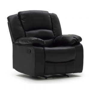 1 seater leather match recliner black