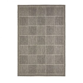 Check flat weave grey Rugs Belfast