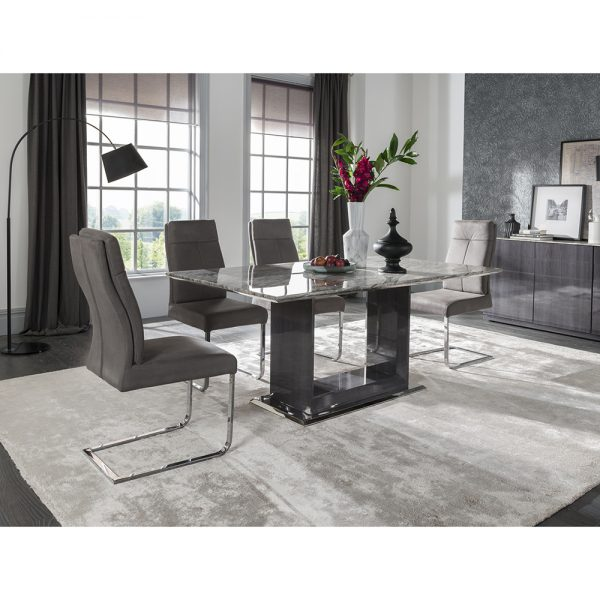 dining table grey gloss marble