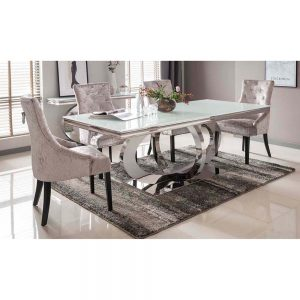 dining table metal white glass belfast sale uk ni