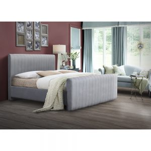 grey fabric pleated large bedstead uk belfast ireland furniture sale