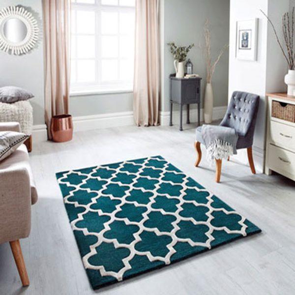 emerald green rug geometric pattern white floor carpet uk ni ireland belfast