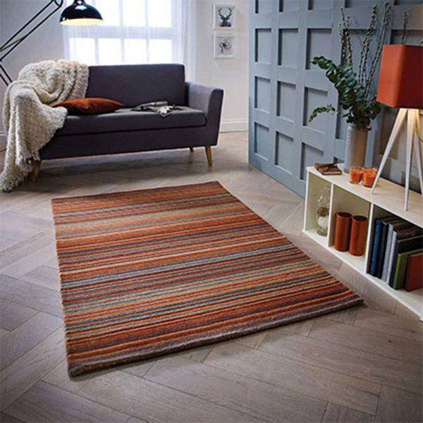 rug orange rust stripe belfast home shop uk ni ireland floor