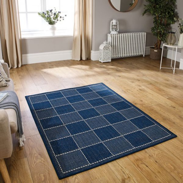 blue checked greek flat weave rug rugs belfast carpet uk ni ireland shop furniture home