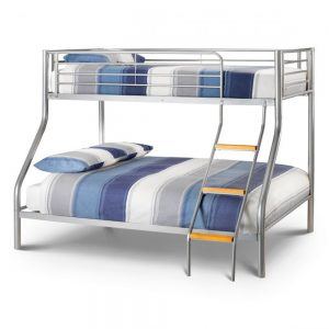 silver metal triple sleeper bunk bed kids child children teens shop home furniture uk ni ireland belfast