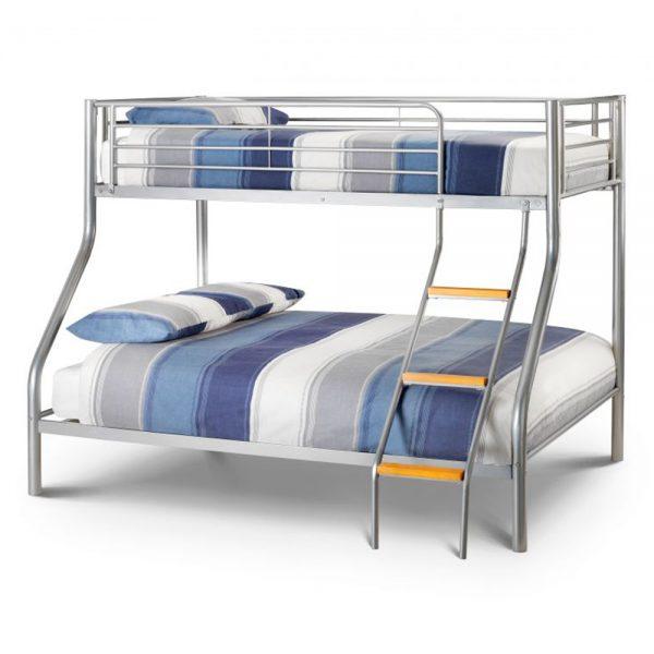 silver metal triple sleeper bunk bed kids child children teens shop home furniture uk ni ireland belfast