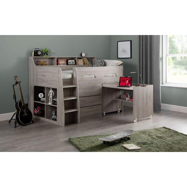 midsleeper grey oak bunk bed kids teens uk ni ireland belfast shop beds bedroom furniture