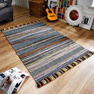 stripe rug grey charcoal