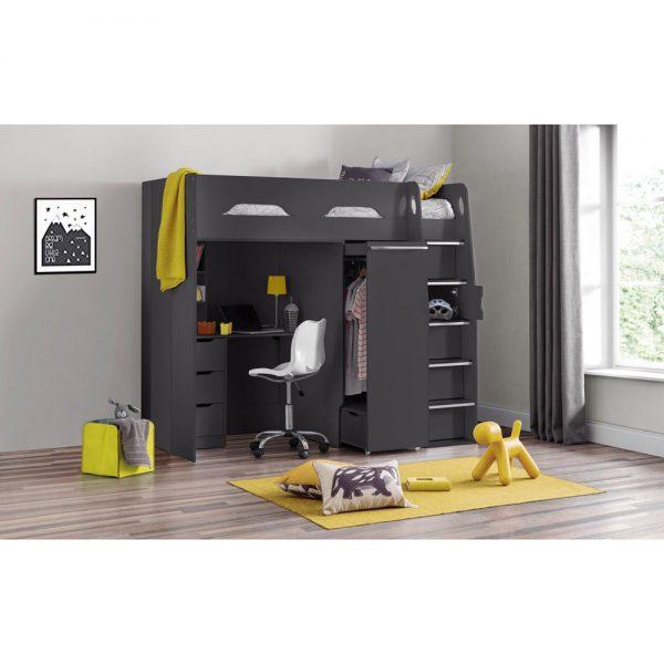 higher sleeper charocal black bunk beds kids bedroom uk ni ireland belfast furniture