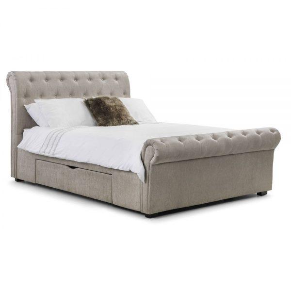 2 drawer storage bed mink chenille uk ni ireland shop home bed bedroom furniture uk belfast