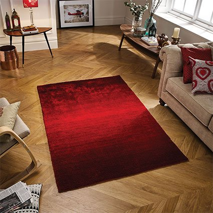 red ombre fade rug