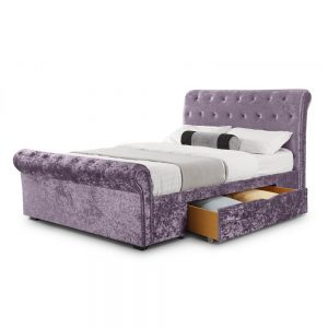 purple lilac crushed velvet bed bedstead shop home bedroom furniture uk ni ireland belfast
