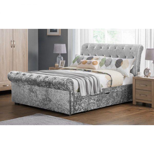 silver crushed velvet storage bed bedds bedroom furniture shop home uk ni ireland belfast