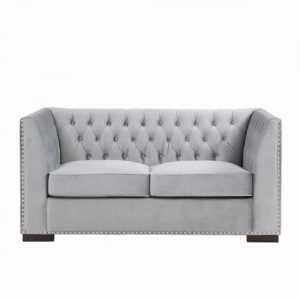2 seater grey velvet sofa