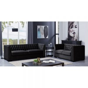 3 and 2 seater set black sofa