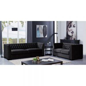 3 and 2 seater set black sofa