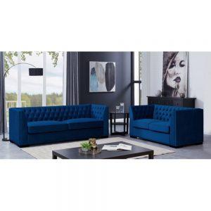 royal blue sofa 3 2 set