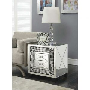 2 drawer lamp table diamonds diamante crystal