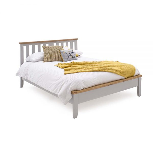 5ft kingsize wood painted grey bed bedstead