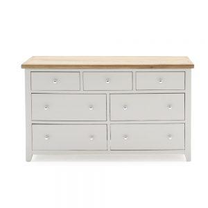 painted grey wooden 7 drawer wide chest dresser