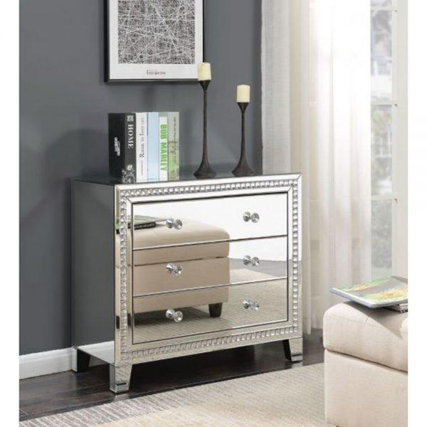 3 drawer chest mirrored stylish modern