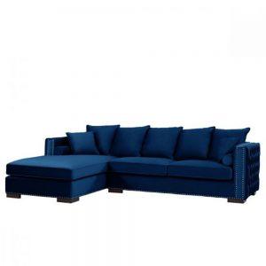 royal blue velvet sofa corner group