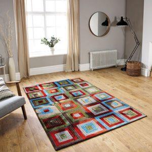 colour block pattern rug multi