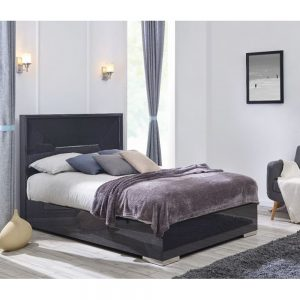 bed bedstead black charcoal