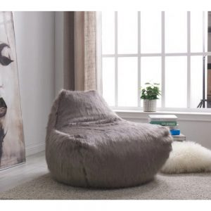faux sheepskin grey bean bag