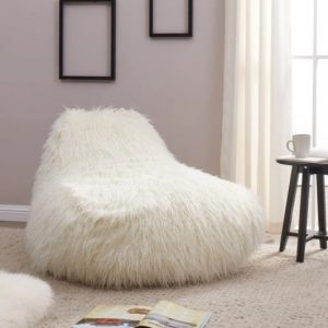 faux sheepskin bean bag chair white