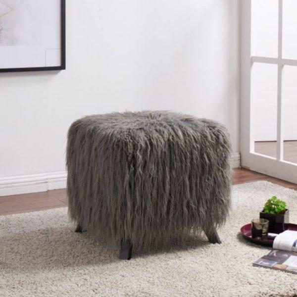 dressing stool faux sheepskin