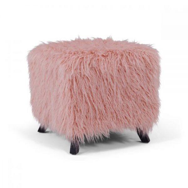 pink fauux sheepskin dressing stool