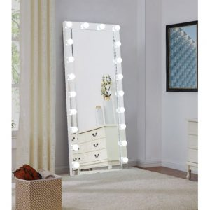 hollywood light floor mirror white gloss