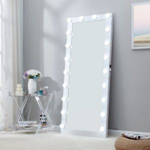 white floor mirror hollywood lights
