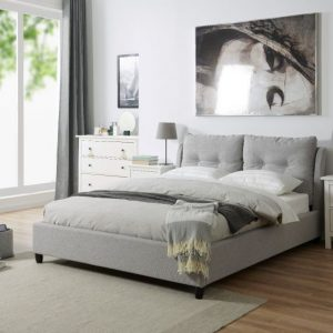 grey fabric bed bedstead