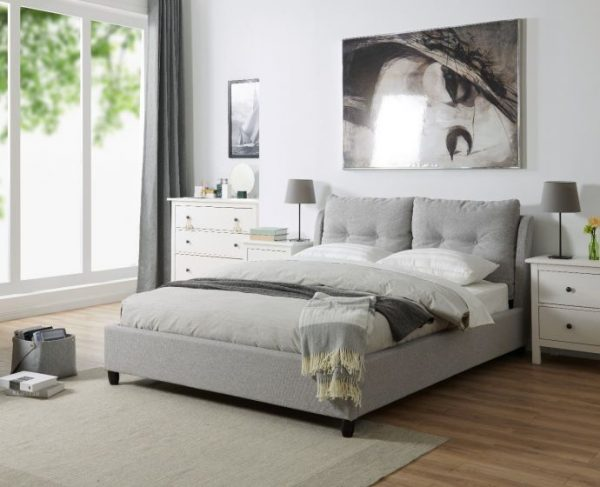 grey fabric bed bedstead