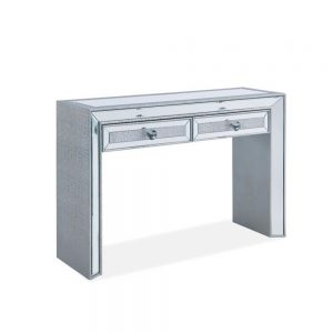 silver glitter console table mirrored