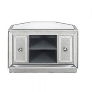 crystal mirrored modern tv unit silver glitter