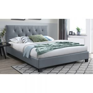 grey pu bed