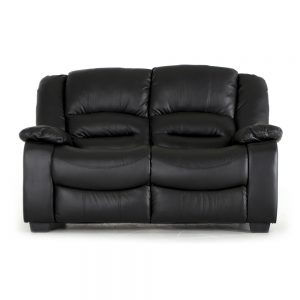 2 seater black leather recliner