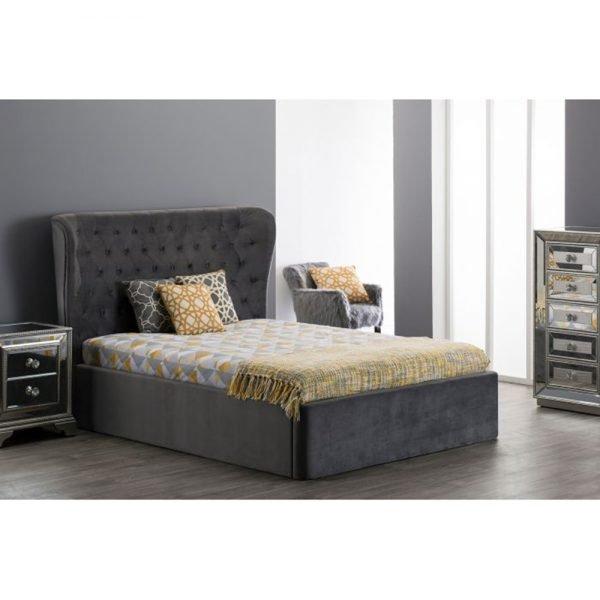 grey velvet bed