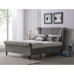 grey silver velvet bed