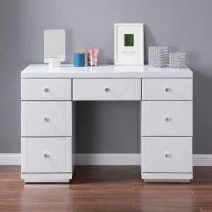 hollywood 7 drawer dressing table white