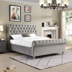 beds fabric bedframe velvet grey